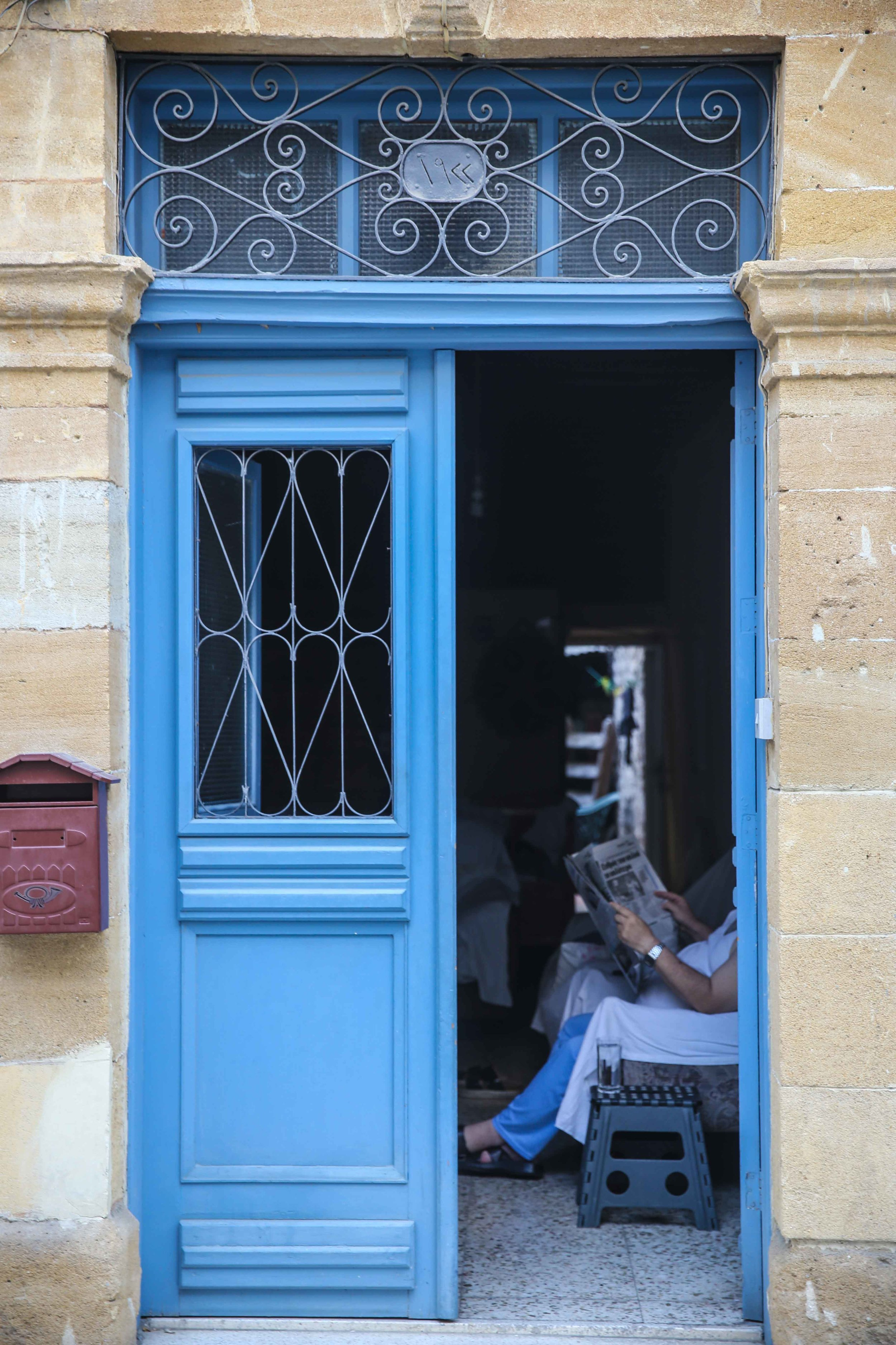 Blue door in Nicosia, Cyprus