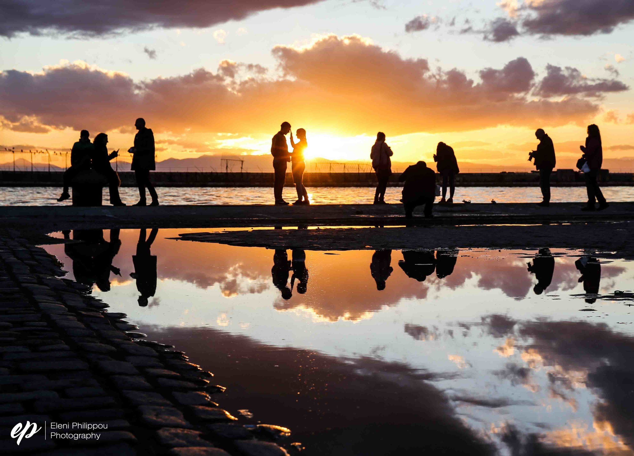sunset reflections in Thessaloniki, Greece