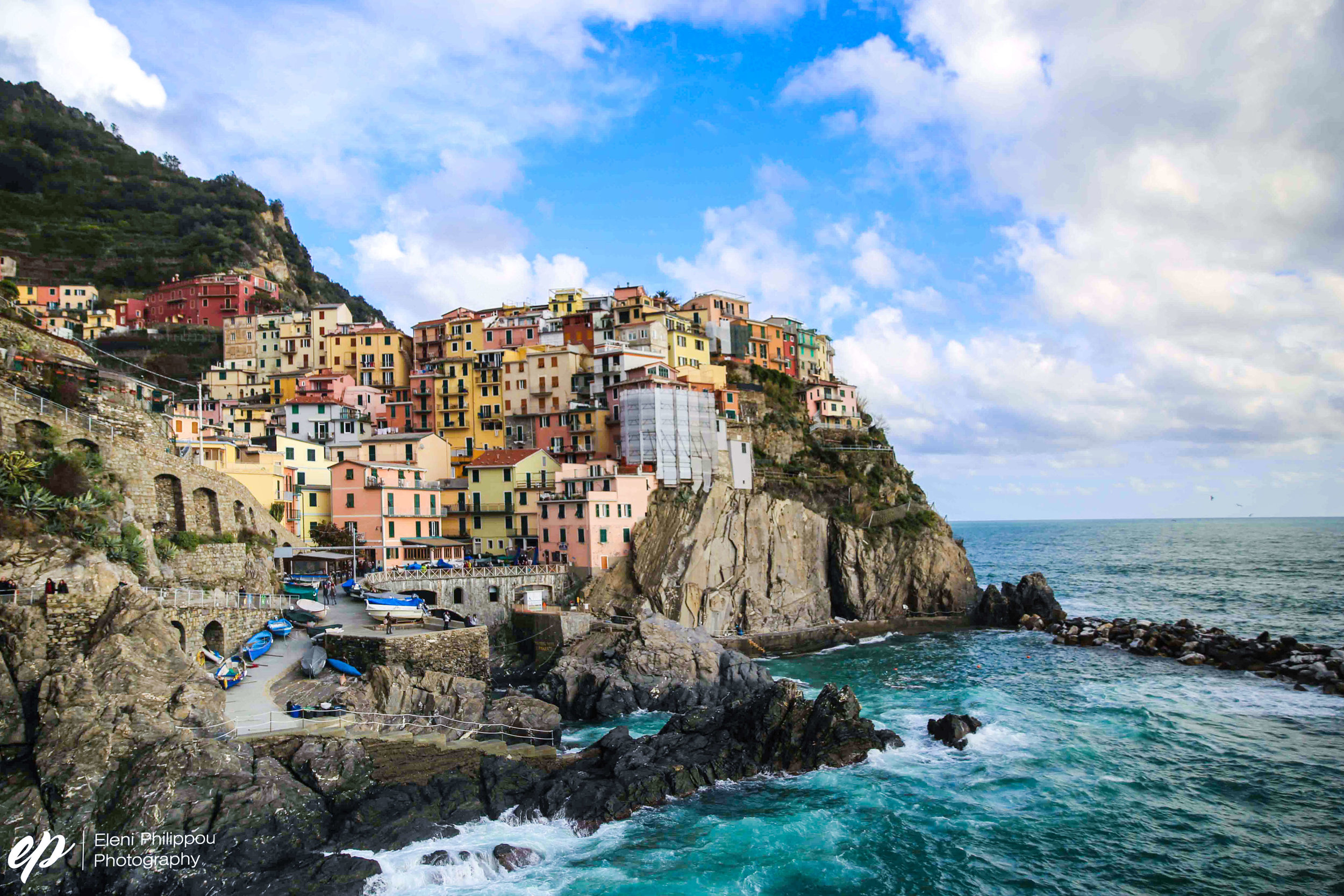 The most photographed spot of Manarola town and what you'll find when Googling it.