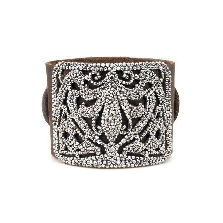 Cut Steel Leather Bracelet