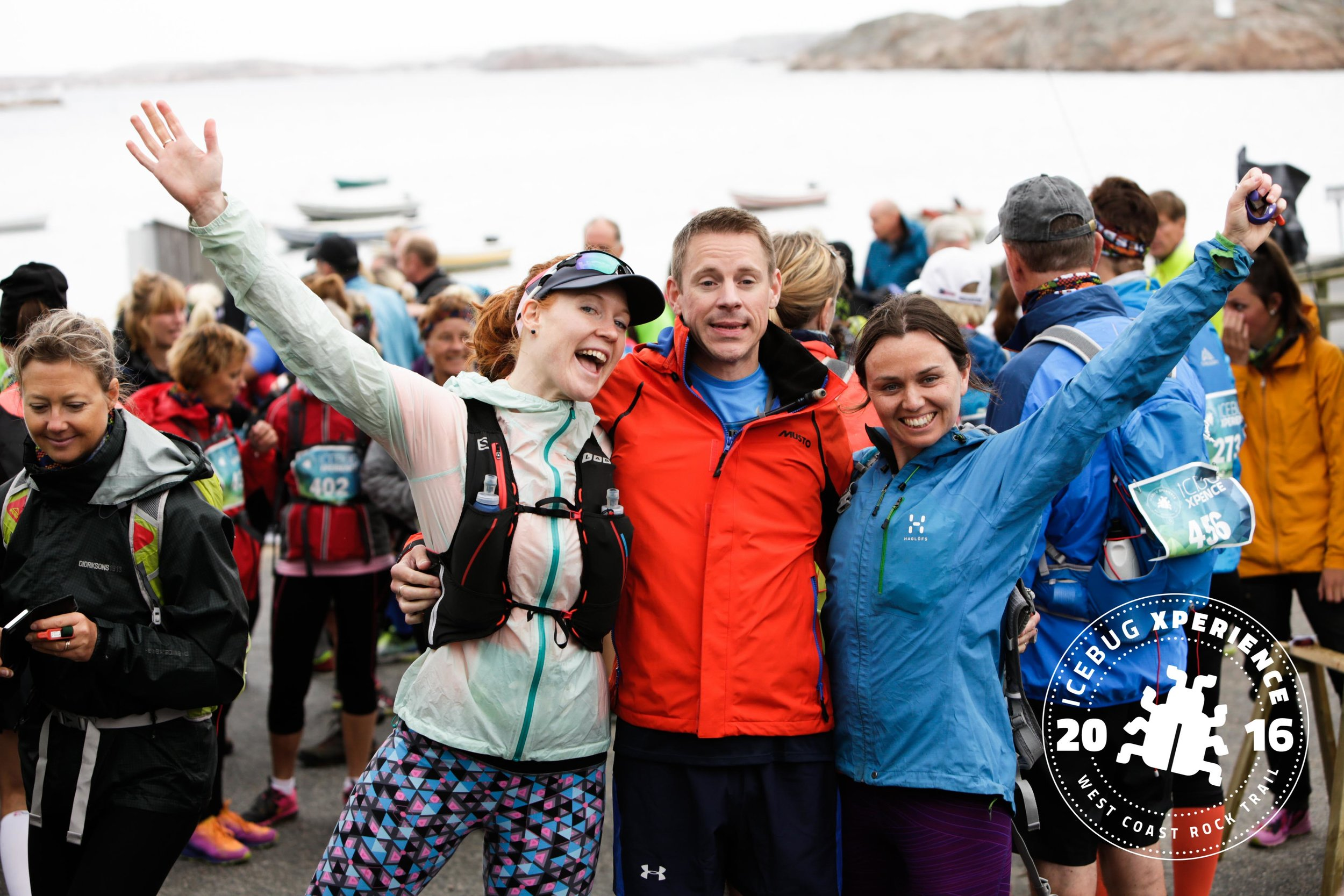 """""""We finished the Icebug Xperience 2016!"""" Editor Claire, hubby Steve and bestie Kate cheer"""
