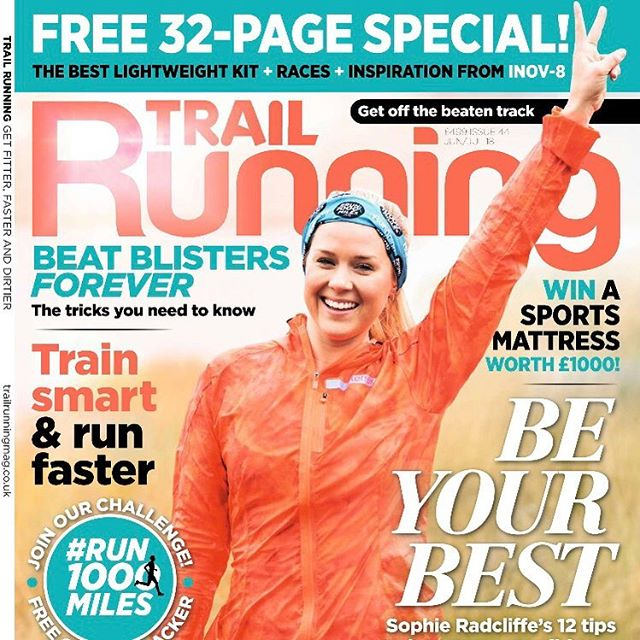 New issue of Trail Running Magazine on sale today!  Cover star @challengesophie ✌🏼