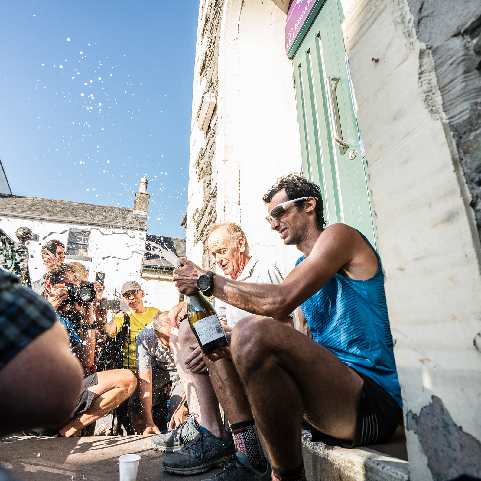 Kilian Jornet celebrates outside Moot Hall with previous record-holder Billy Bland (pic credit: Tim Harper)