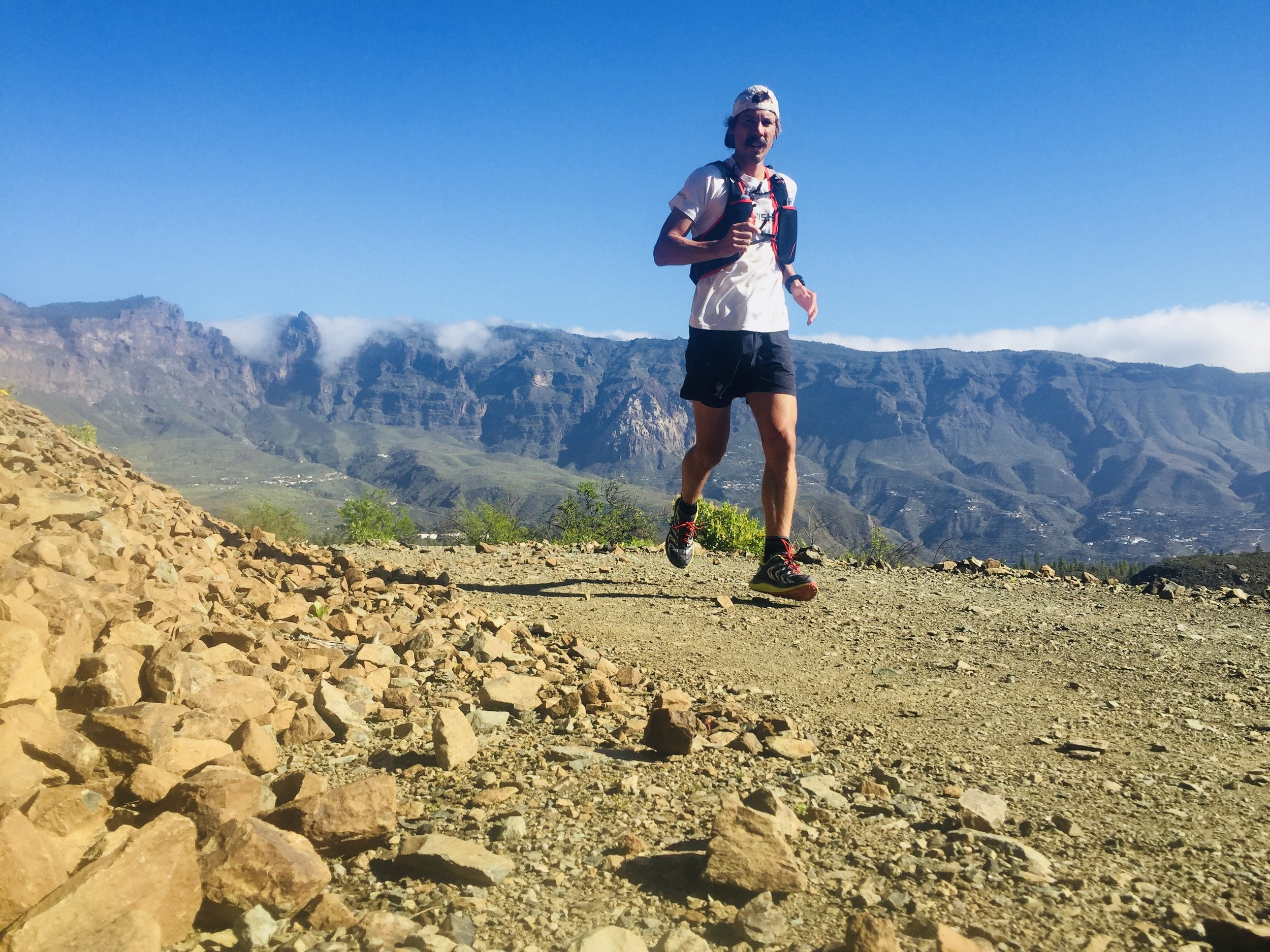 Kristian Morgan, here seen training for the Transgrancanaria Ultra, intends to average 55 miles per day on the Appalachian Trail