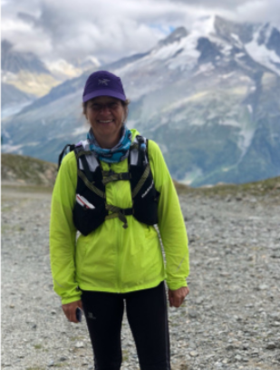 Sue Barrett, while cycling, jogging, fast packing, scrambling and hiking along the Via Alpina last year