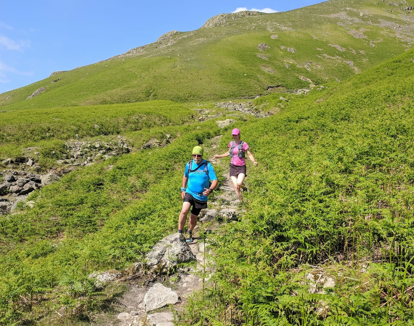#Run1000Milers Eddie Arthur and daughter-in-law Lina Arthur coming down from Grisedale to Dunmail