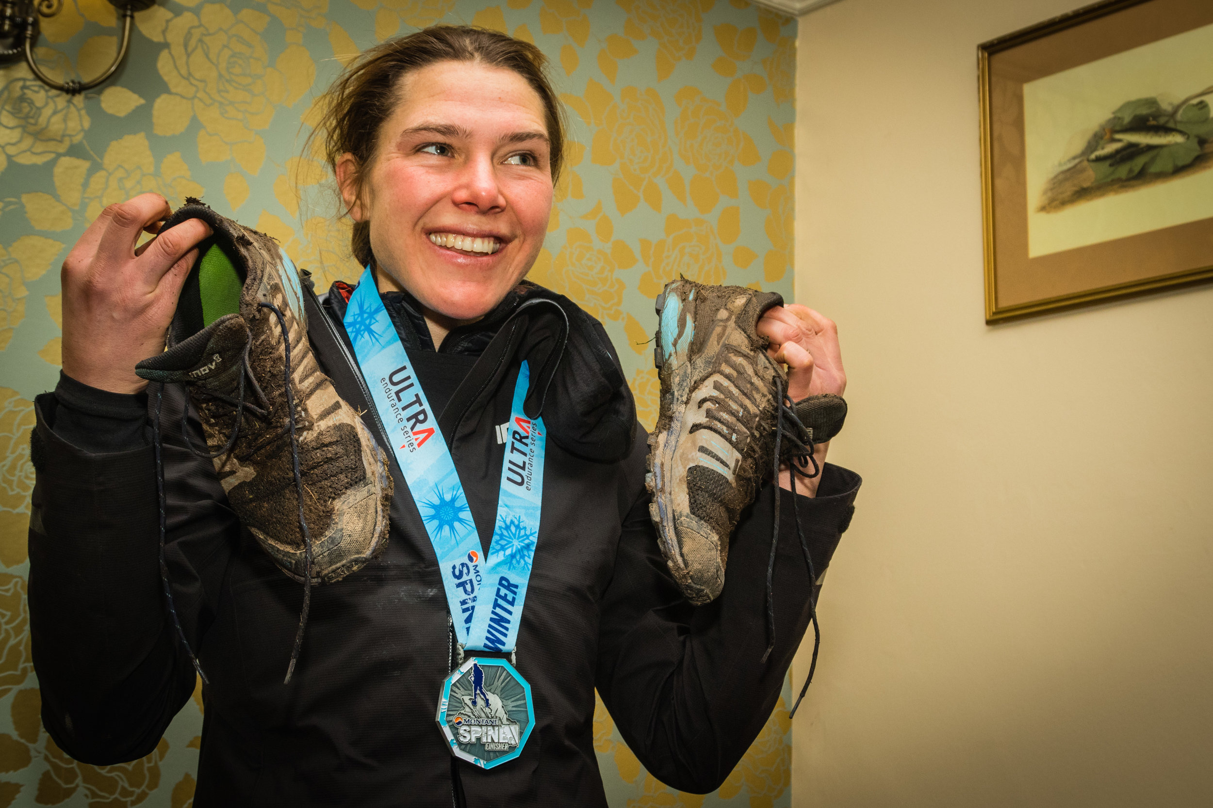 Montane Spine Race winner Jasmin Paris wearing the ROCLITE 275s, which now feature graphene (credit: Pete Aylward)