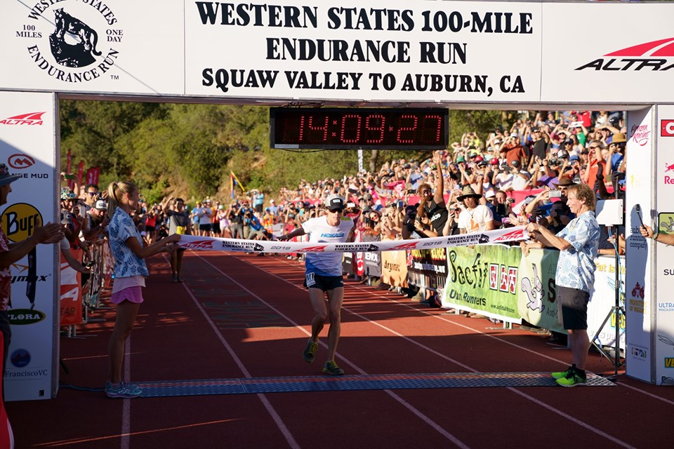 Jim Walmsley crosses the line at Auburn, taking 21 minutes off his own course record (pic credit: Western States Endurance Run)