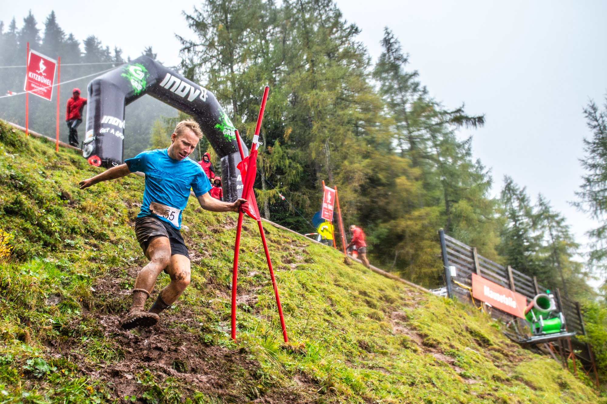 The rain and mud added an extra element of risk for daredevil competitors at the Inov-8 Descent Race in Austria last weekend (credit: Michael Werlberger)