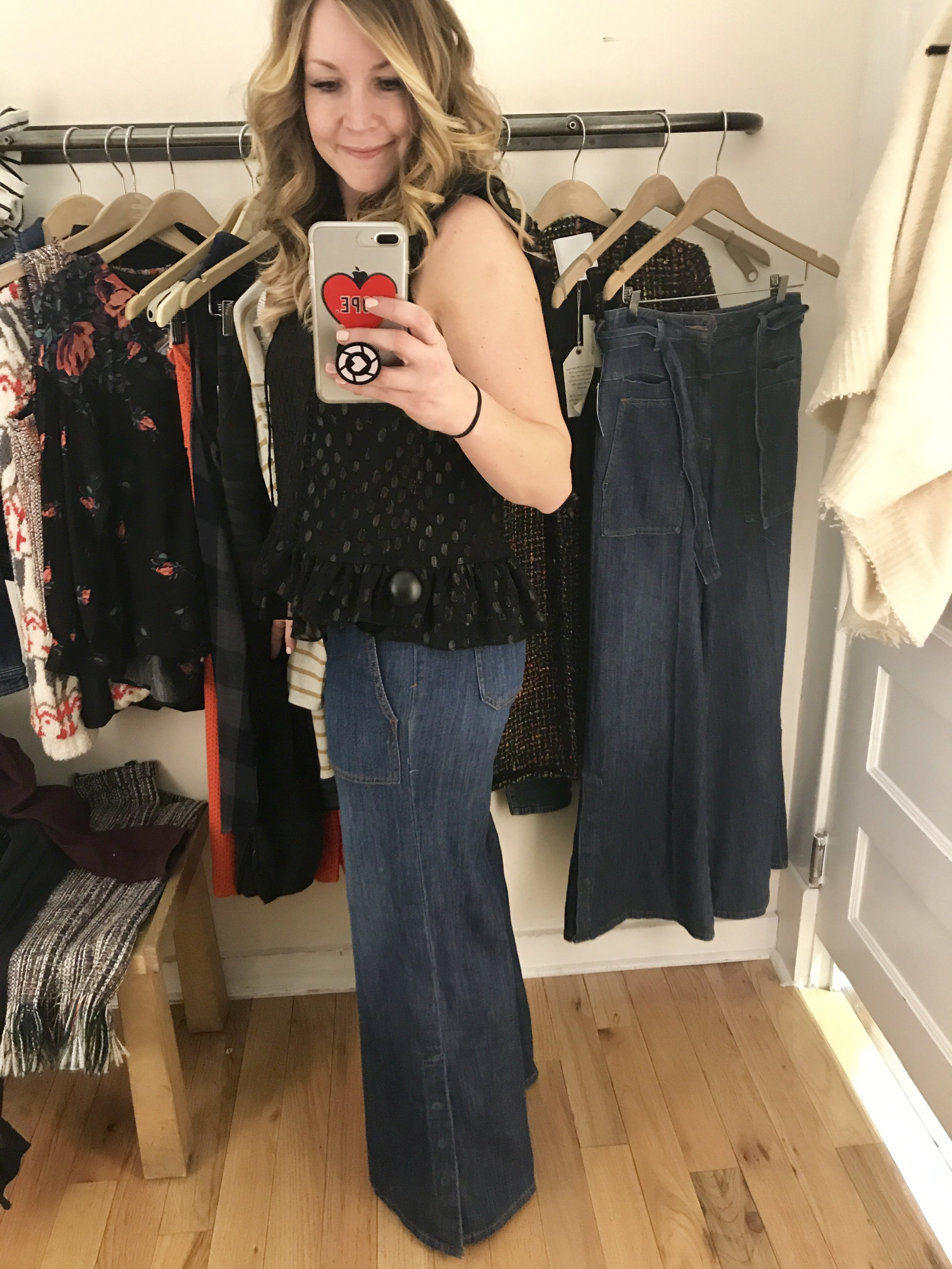 blouse         wide-leg denim