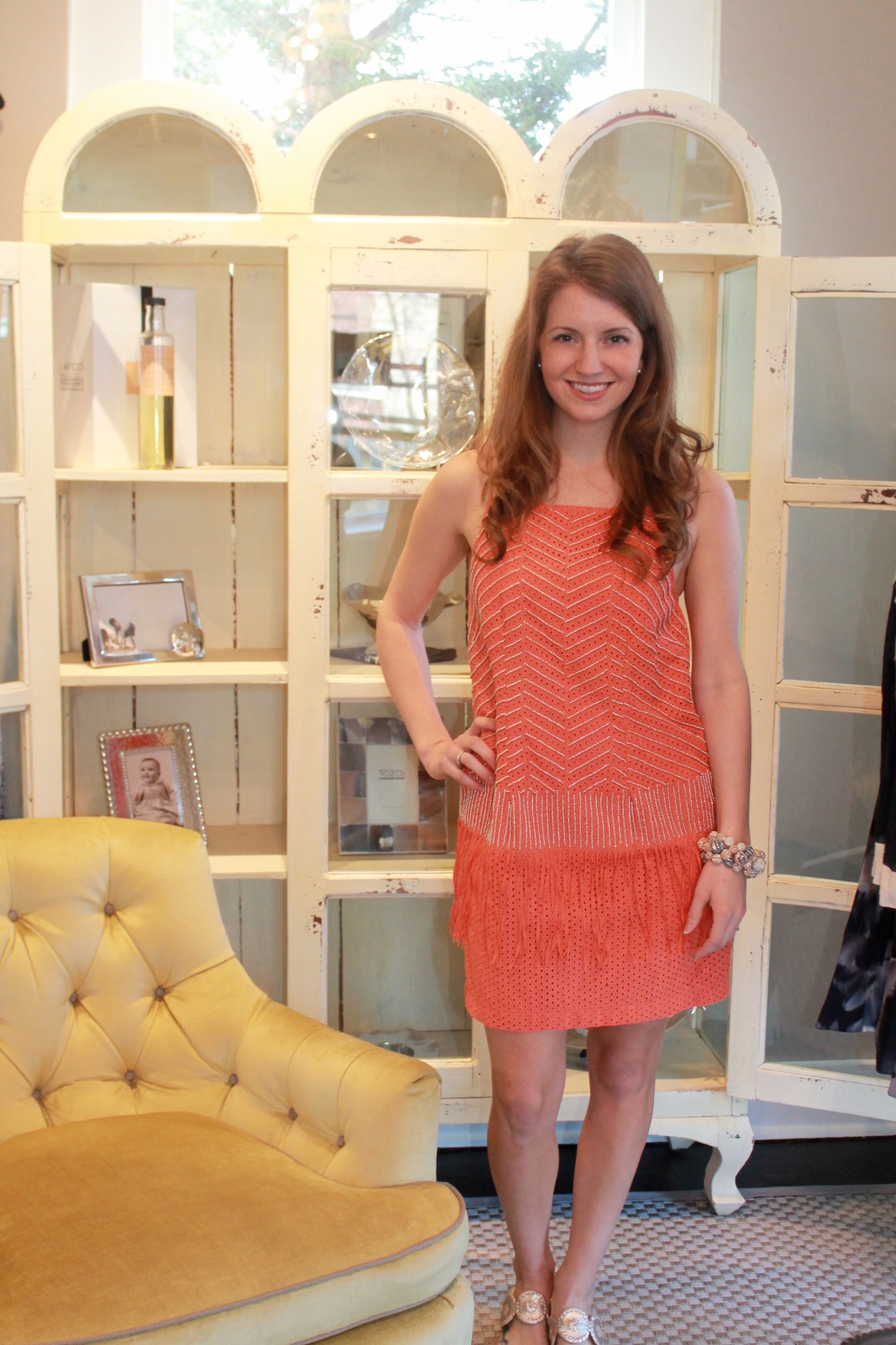 Nicole Miller Coral Gold Strappy Dress