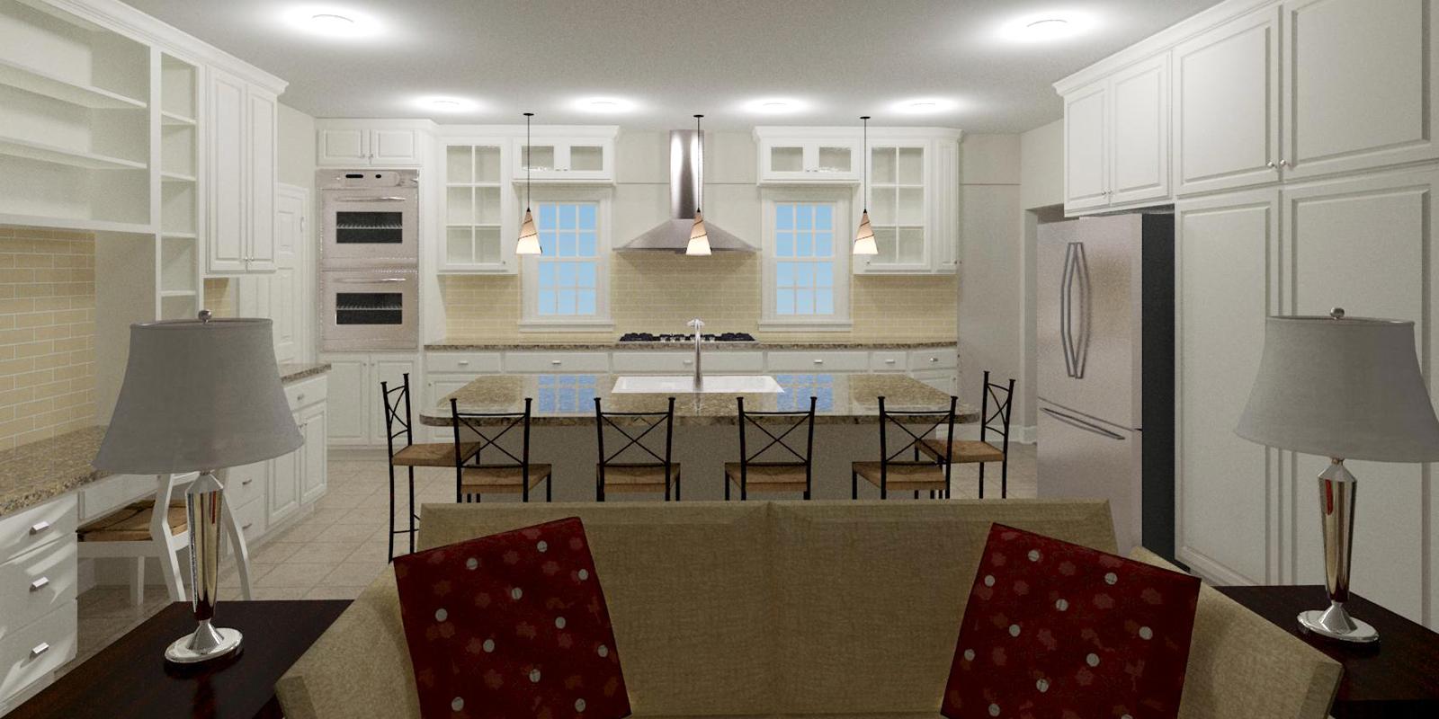 Kitchen/Living Interior (3D design model)