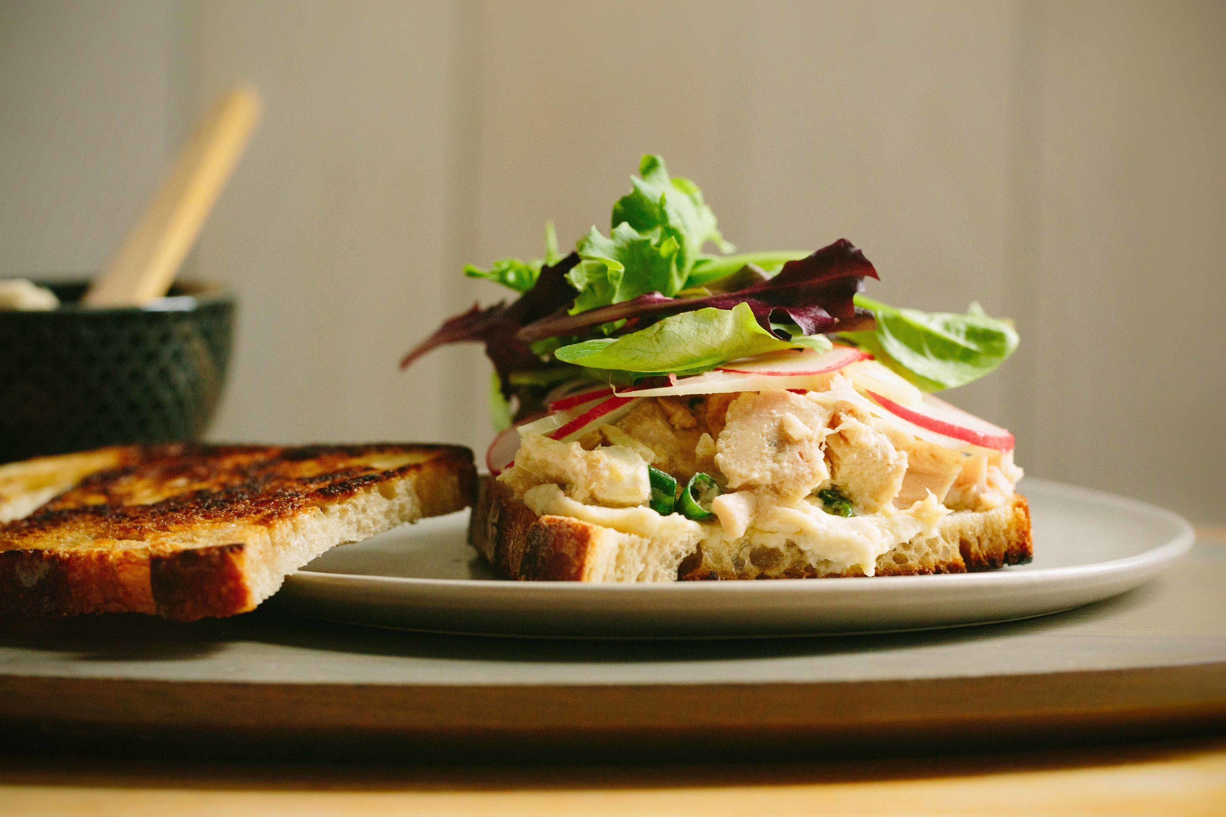 Tuna Sandwich with Pickled Radish, Fennel + White Bean Spread | www.athoughtforfood @athoughtforfood