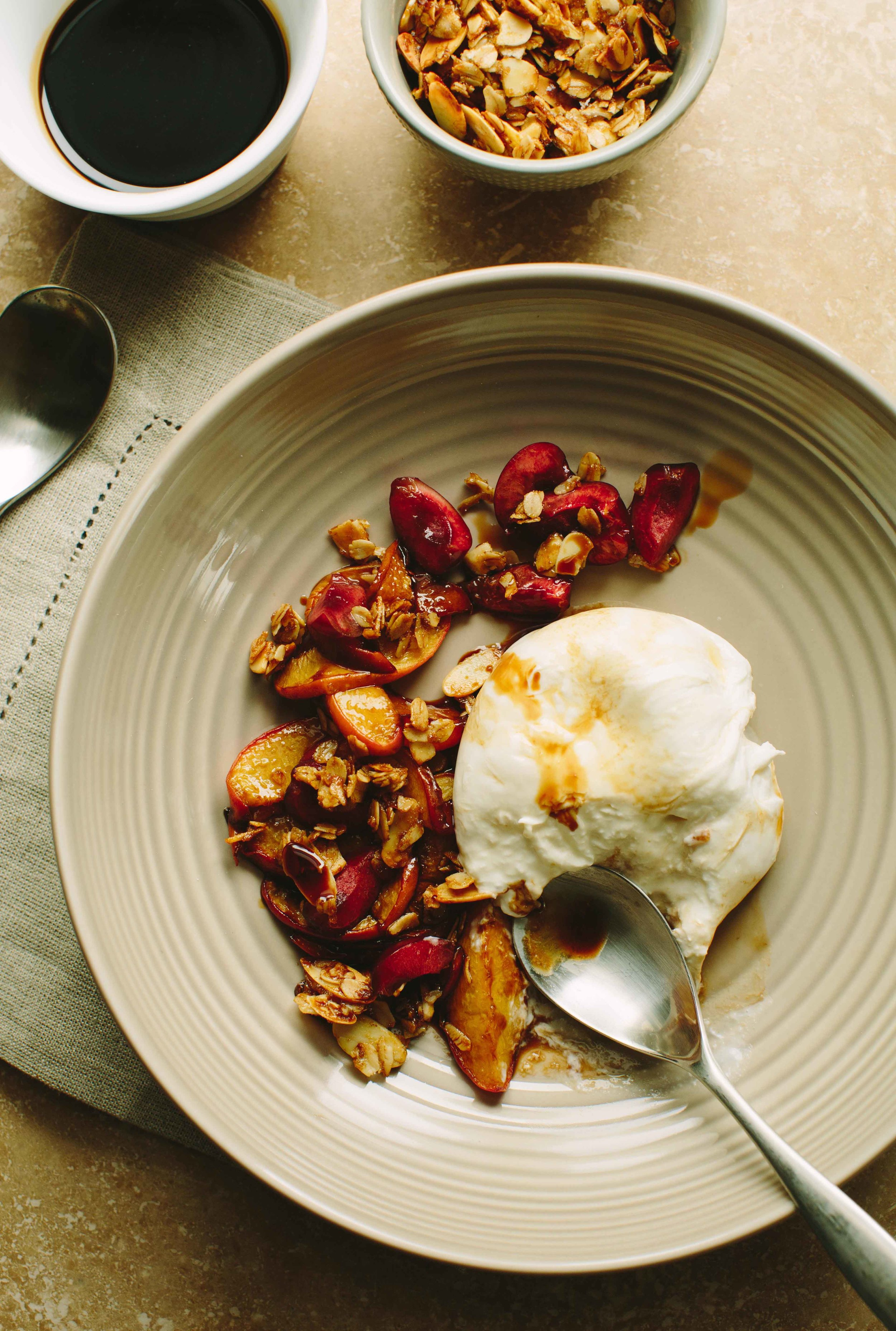 Burrata with Cherries and Balsamic Roasted Peaches | A Thought For Food