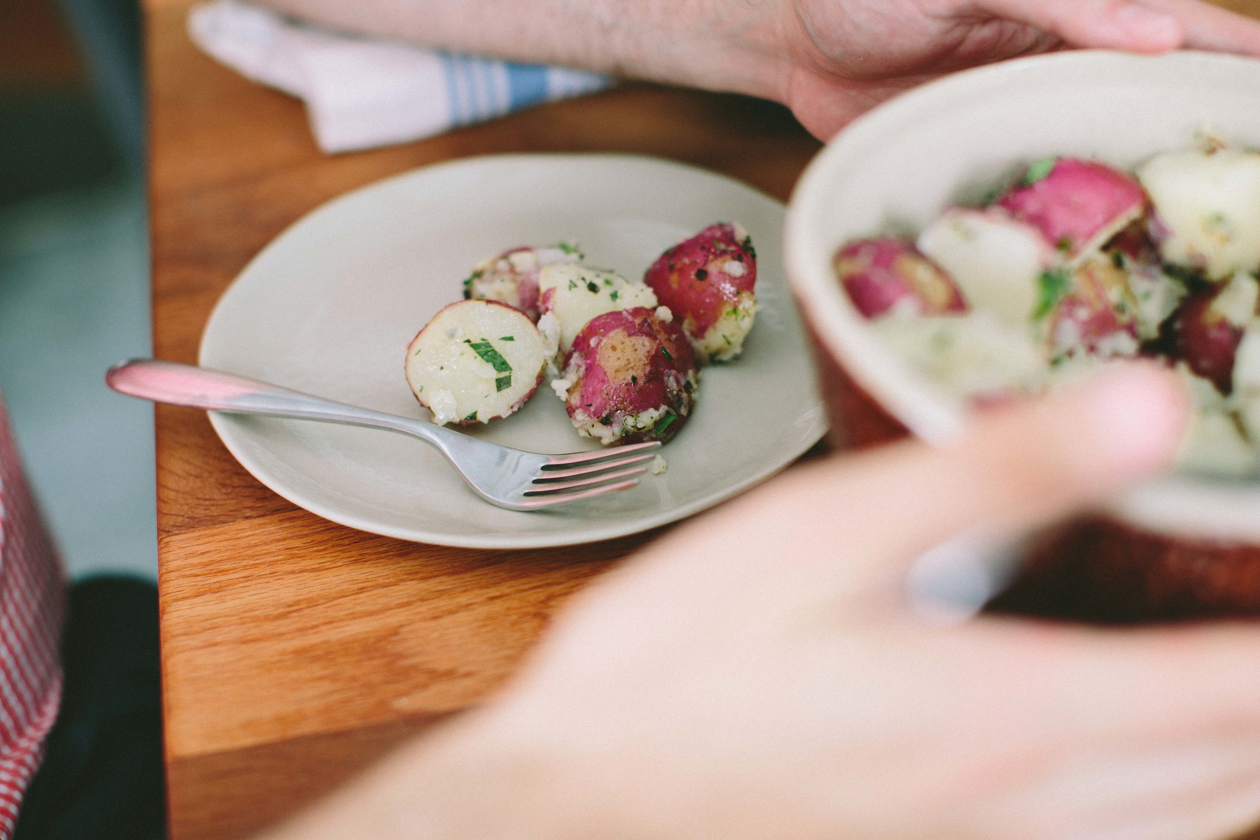 Buttery New Potatoes with Garlic and Herbs // A Thought For Food