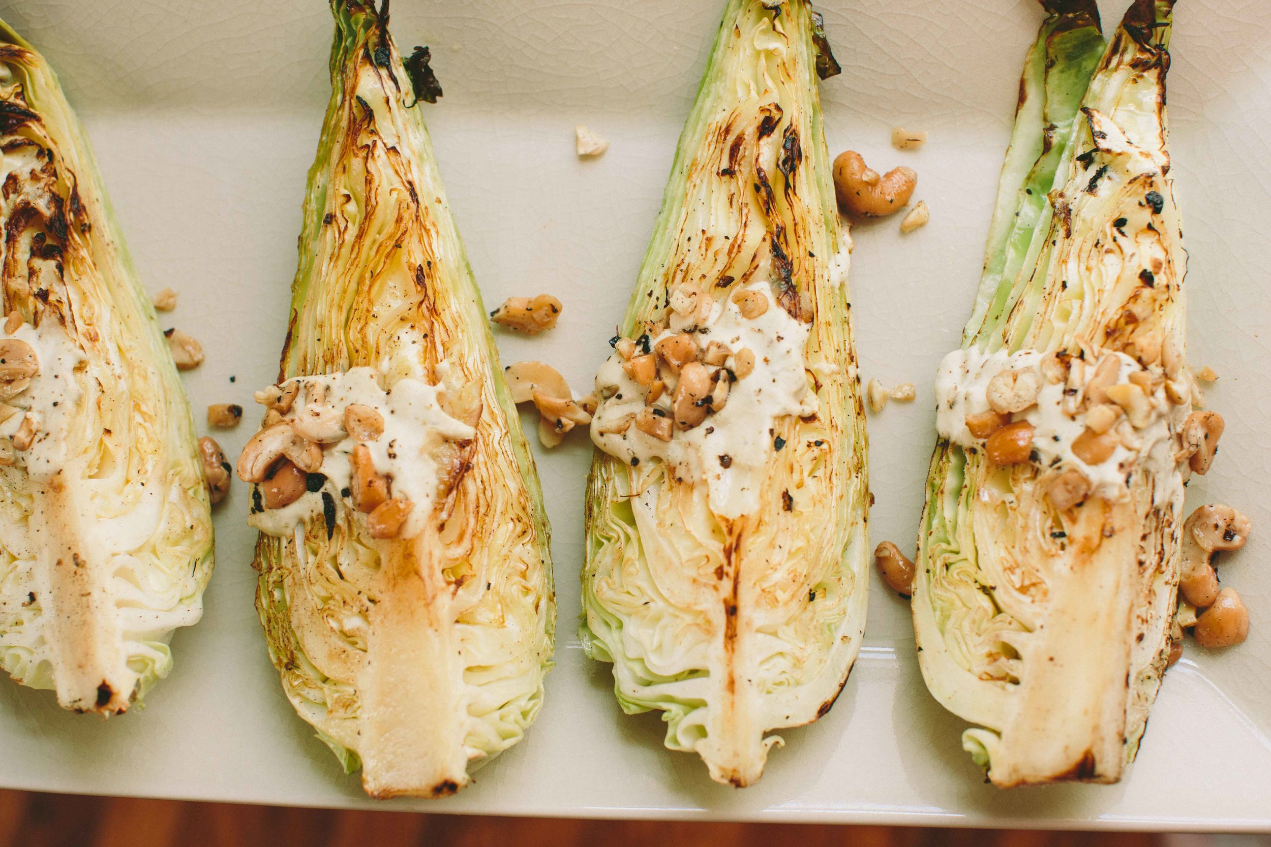 Warm Pointed Cabbage with Lemon-Garlic Cashew Dressing | A Thought For Food