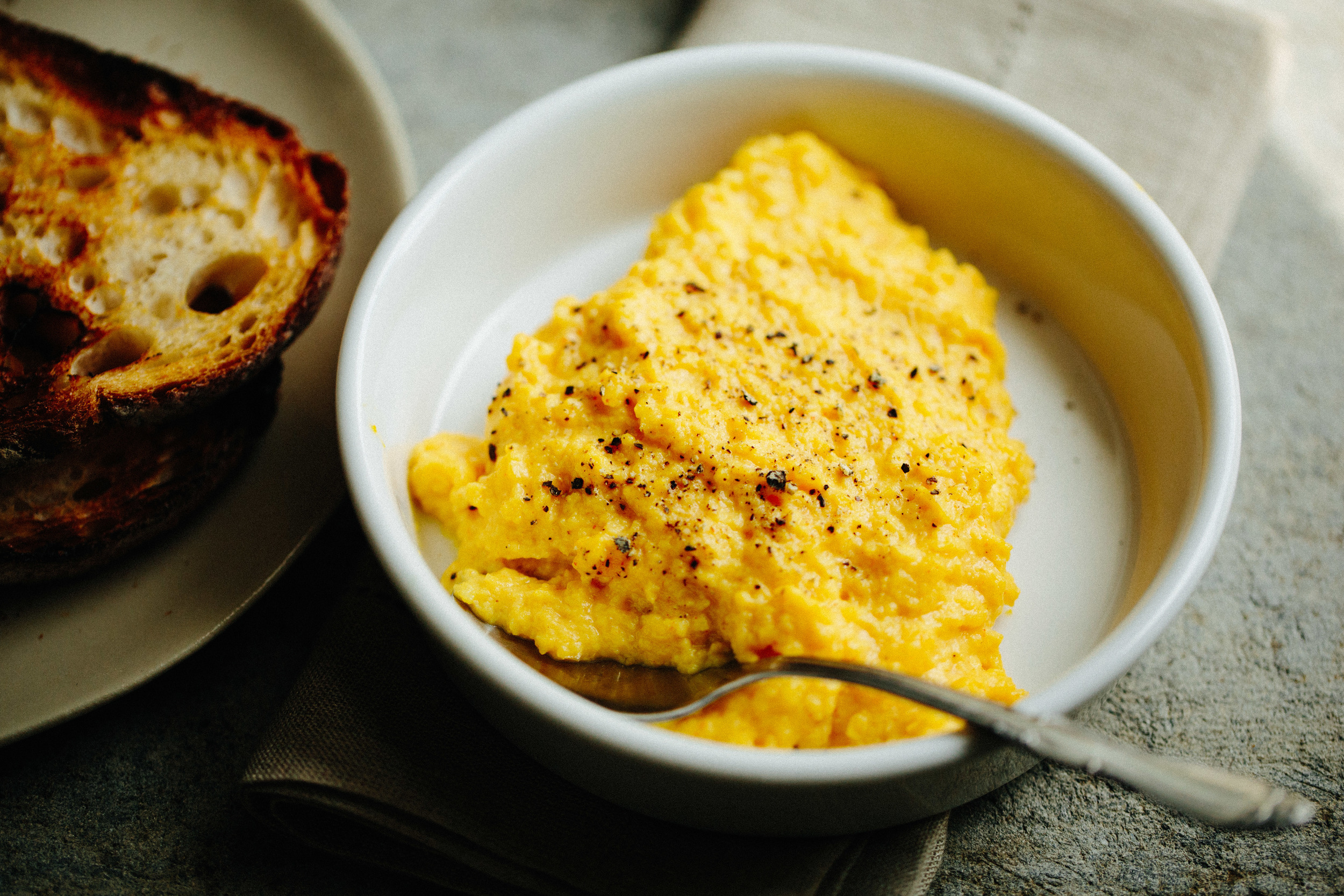 Creamy, Cheesy Scrambled Eggs // A Thought For Food