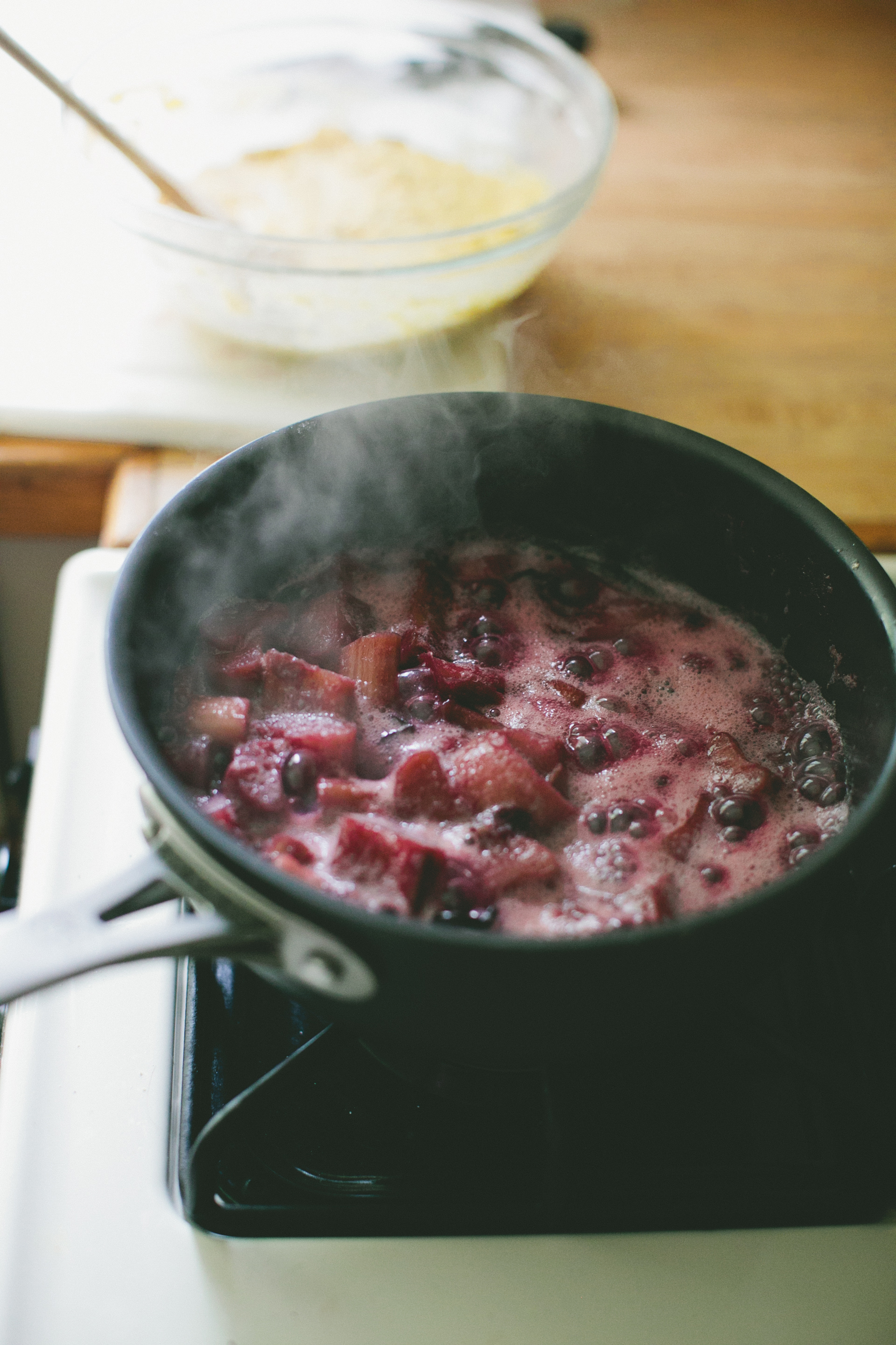 Cornmeal Pancakes + Blueberry-Rhubarb Compote