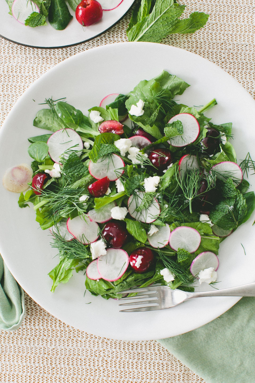 Radish, Cherry + Goat Cheese Salad
