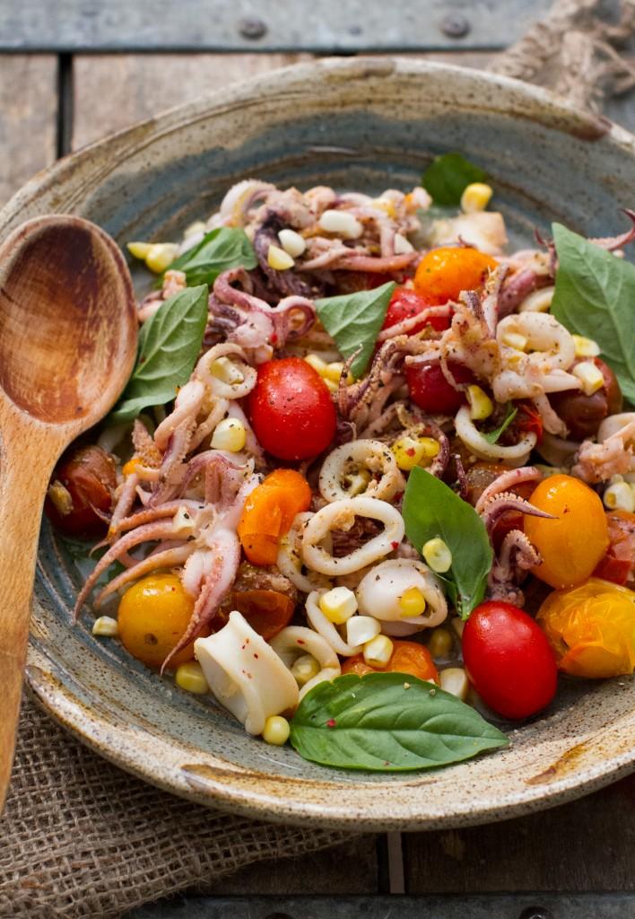 Squid with Burst Cherry Tomatoes