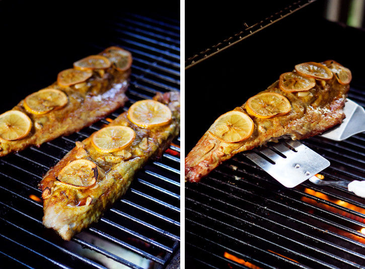 Grilled Bluefish with Curry and Lemon