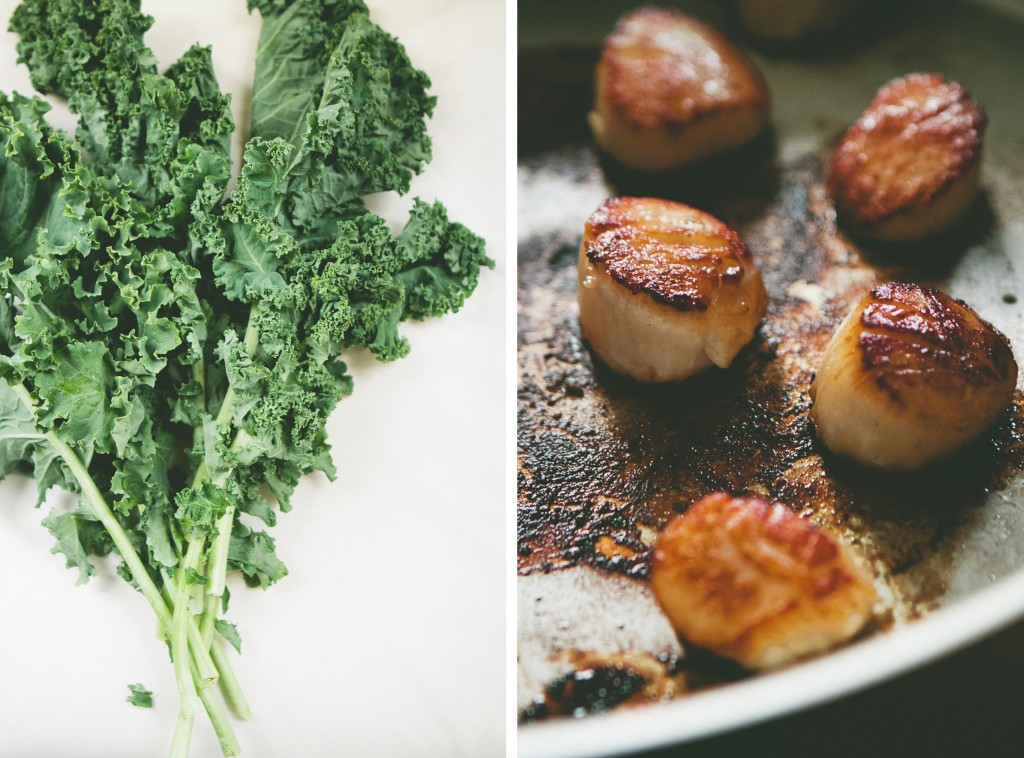 Seared Scallops with Fettuccine + Kale from A Thought For Food