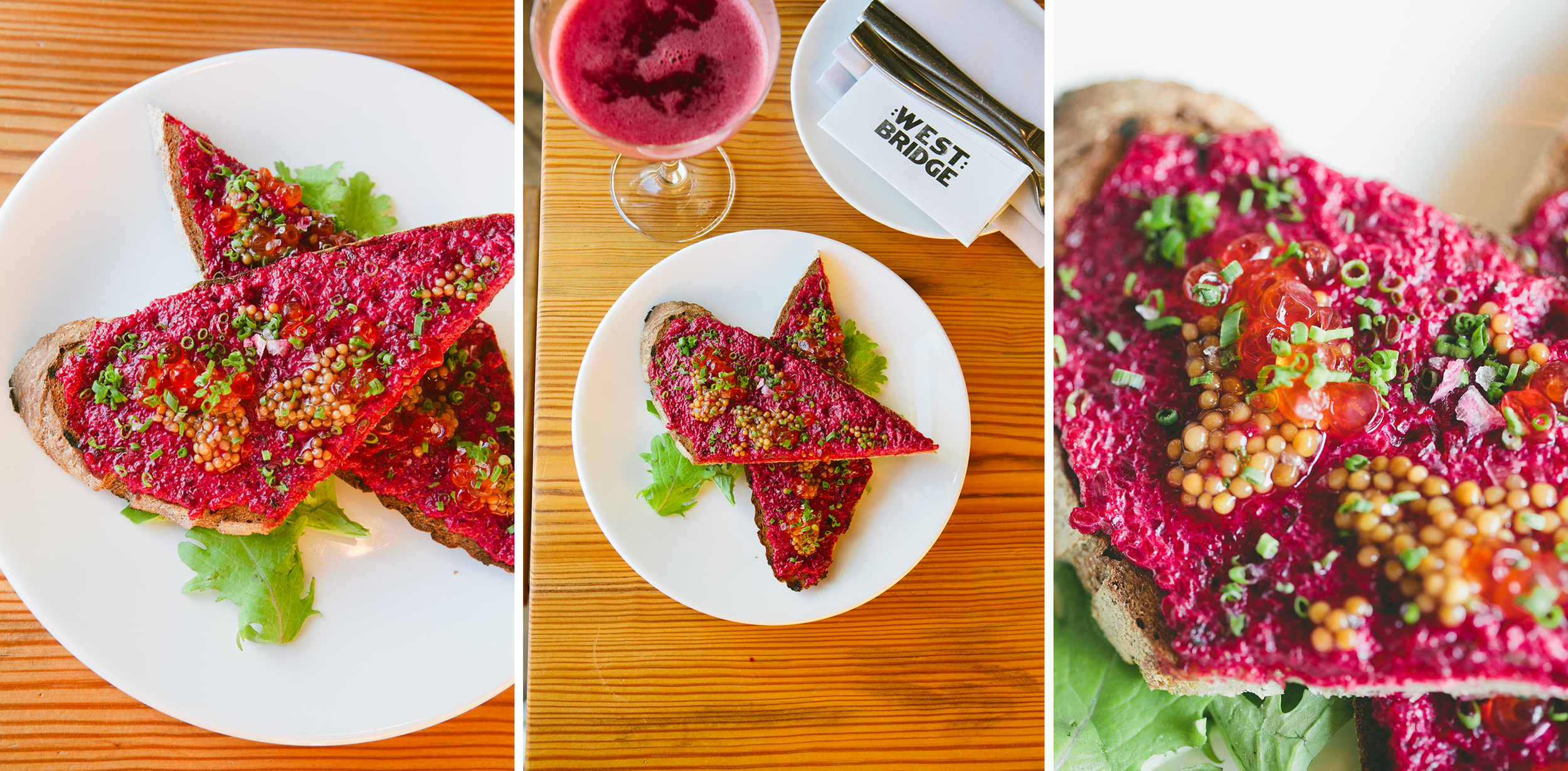 Beet and Salmon Roe Toast at West Bridge || via A Thought For Food
