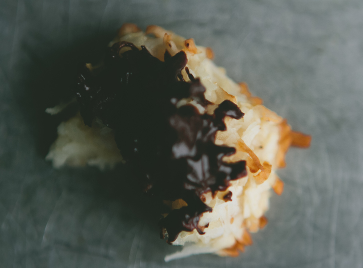 Chocolate-Dipped Macaroons from A Thought For Food #recipe #dessert #passover
