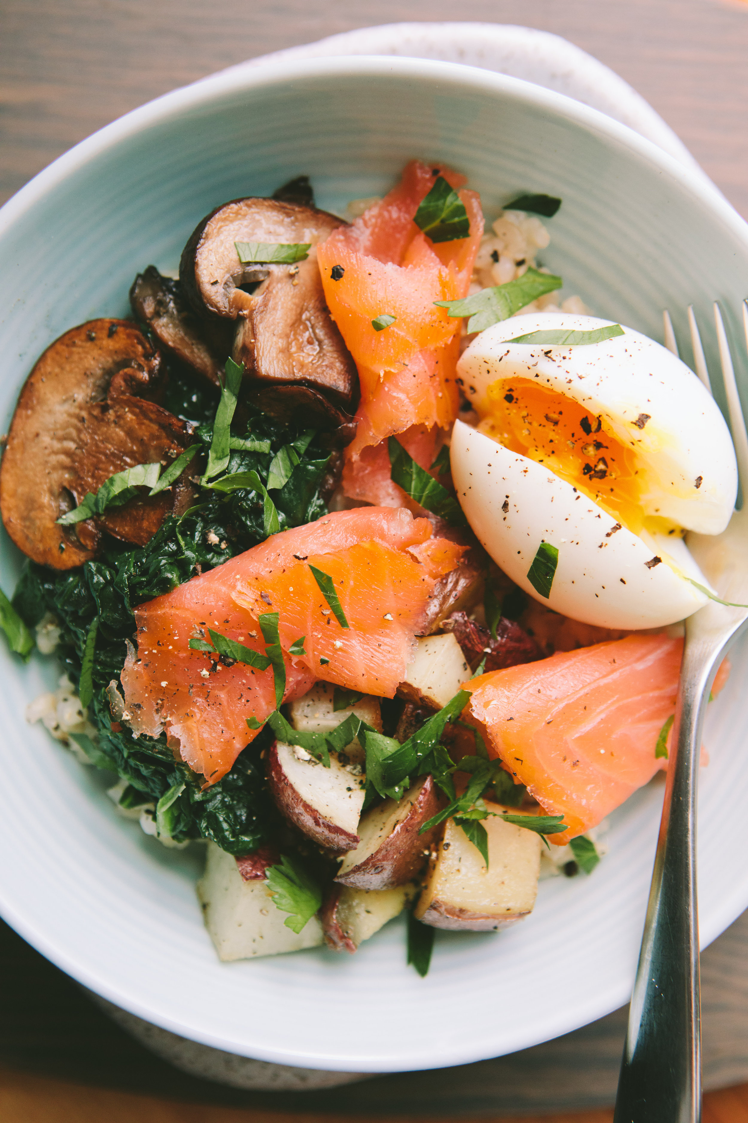 Smoked Salmon Breakfast Bowl with a 6-Minute Egg - A Thought For Food