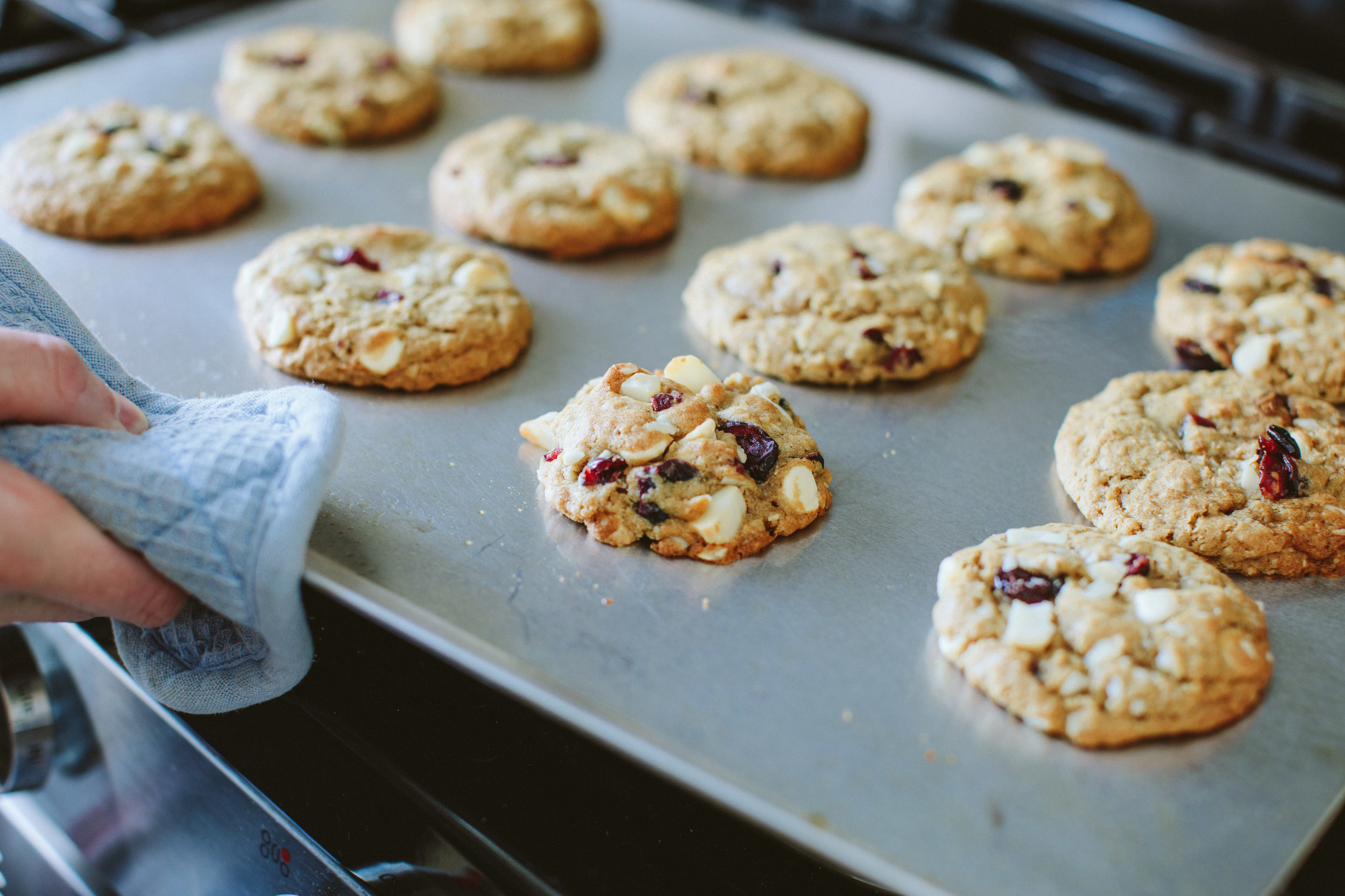 White Chocolate, Cranberry and Macadamia Nut Oatmeal Cookies from A Thought For Food - www.athoughtforfood.net