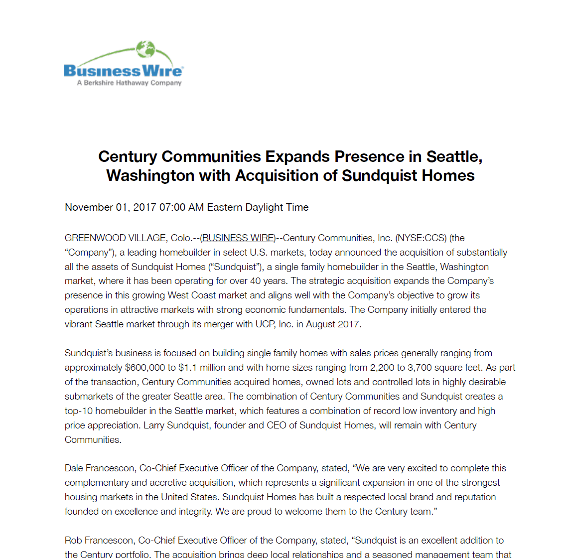 Century Expands in Seattle with Sundquist Homes