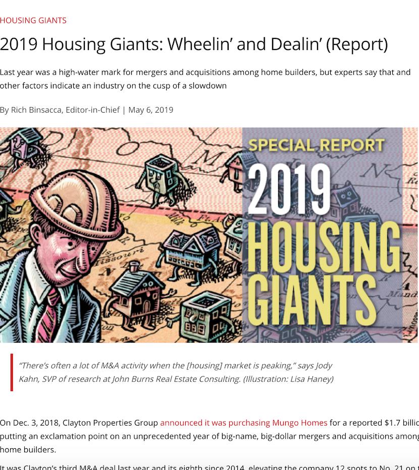 2019 Housing Giants: Wheelin' and Dealin' (Report)