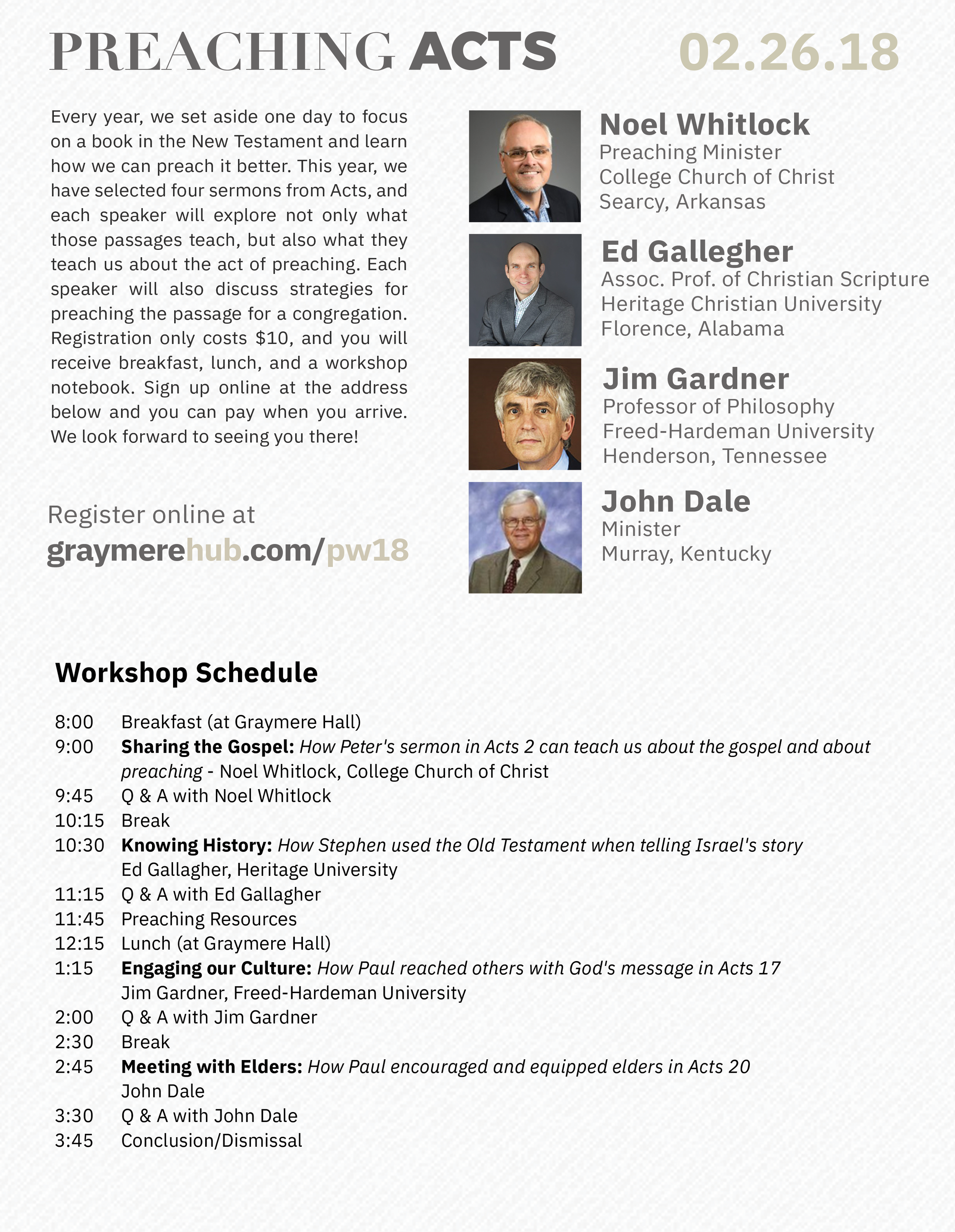 Click for larger view of speakers and schedule