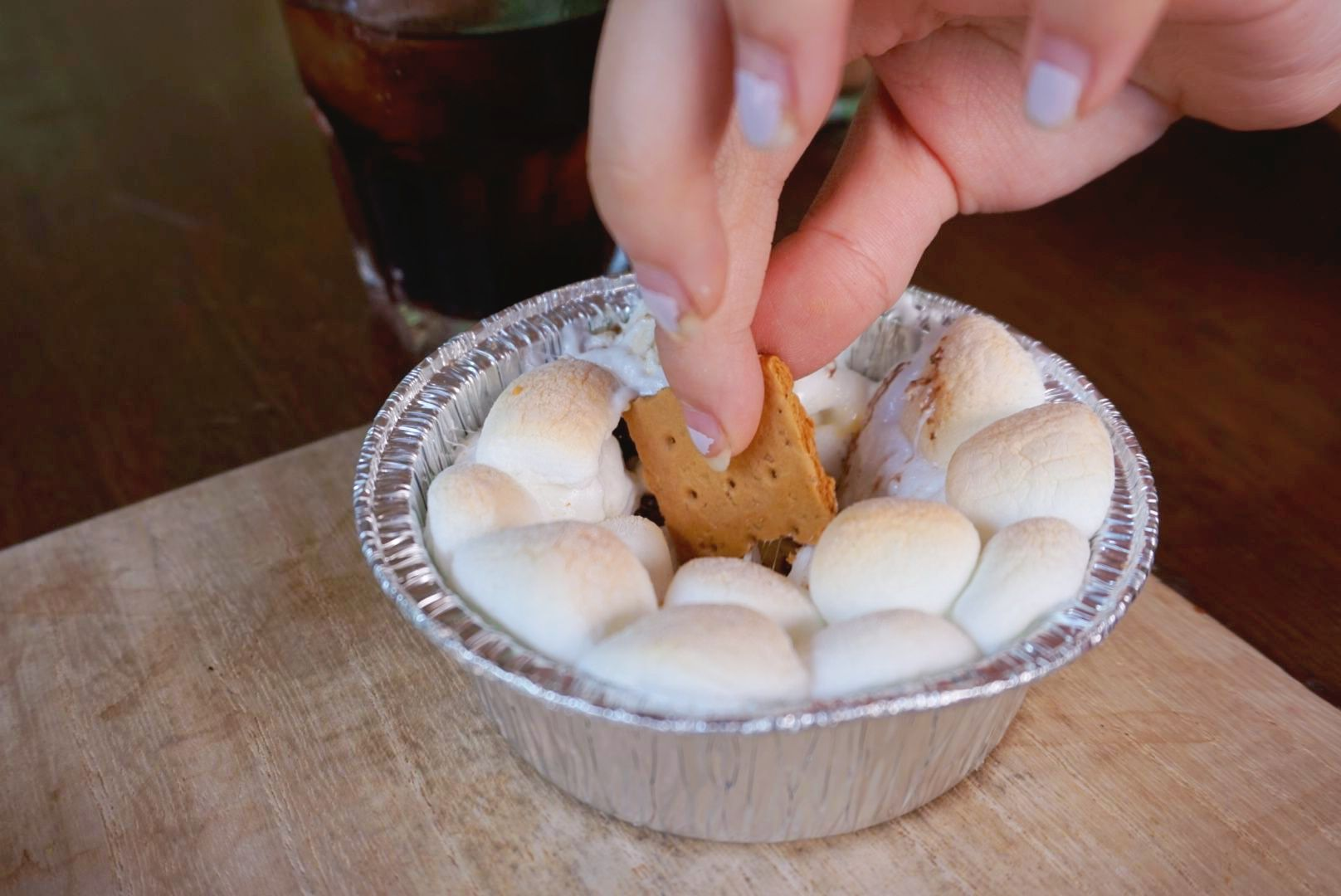 Since I can't have coffee or chocolate, I settled for eating just the marshmallows of our mini smores pie.