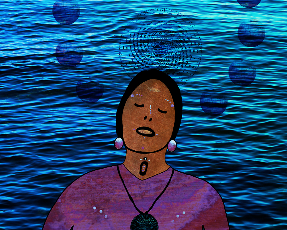 """The Water Carries Her, She Carries the Water,"" Elizabeth LaPensée, 2016 In the ""Re-"" Exhibition at Gimaajii in Duluth, Minnesota"