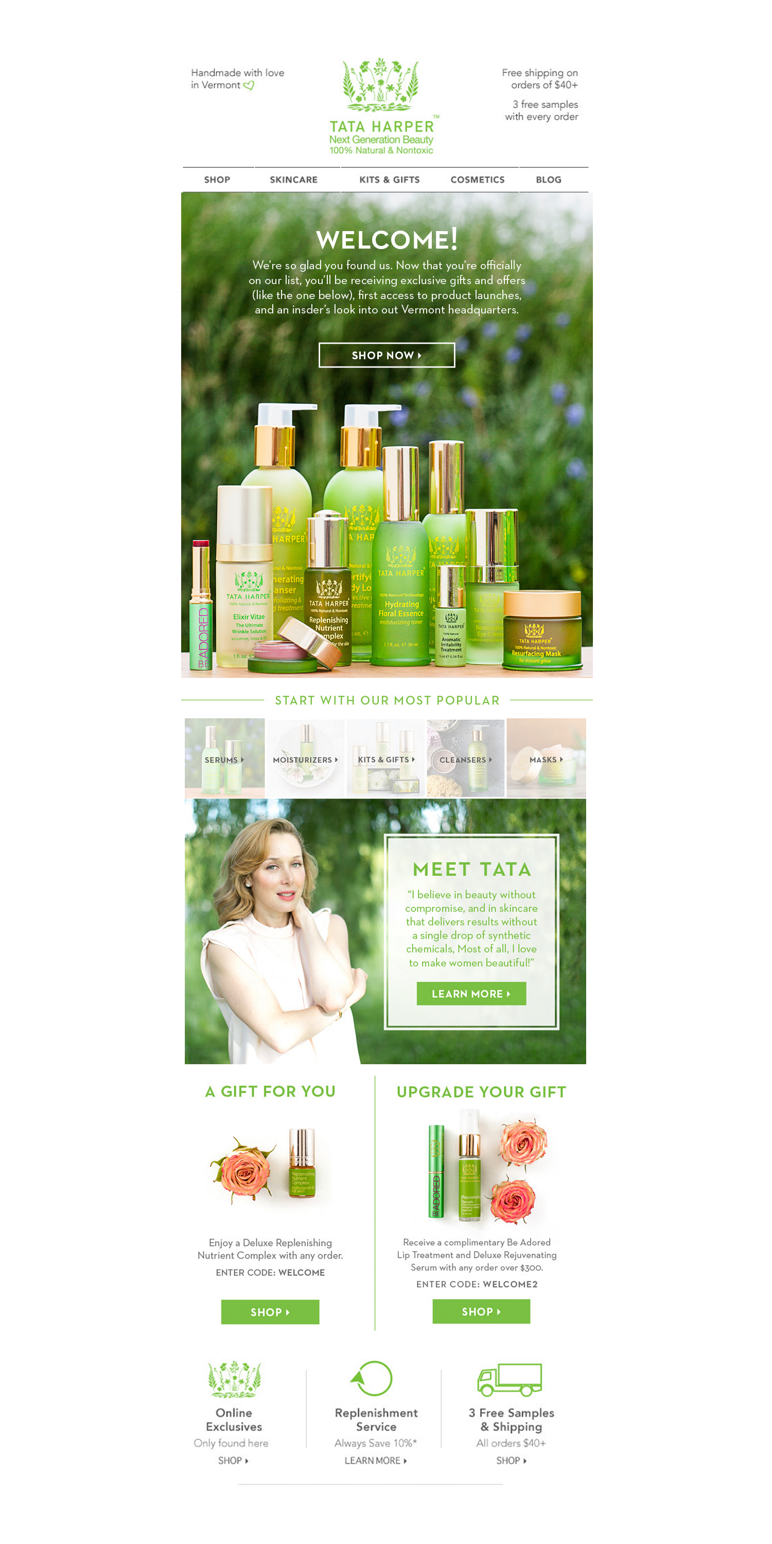 Welcome Email Newsletter, Tata Harper Skincare