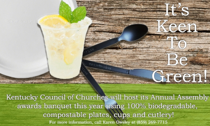 The items purchased include 100% natural sugar cane bio-degradable/compostable plates, biodegradable/compostable heavyweight disposable forks, spoons, knives, 100% compostable plant-based clear cups and recycled paper cups for coffee and tea.