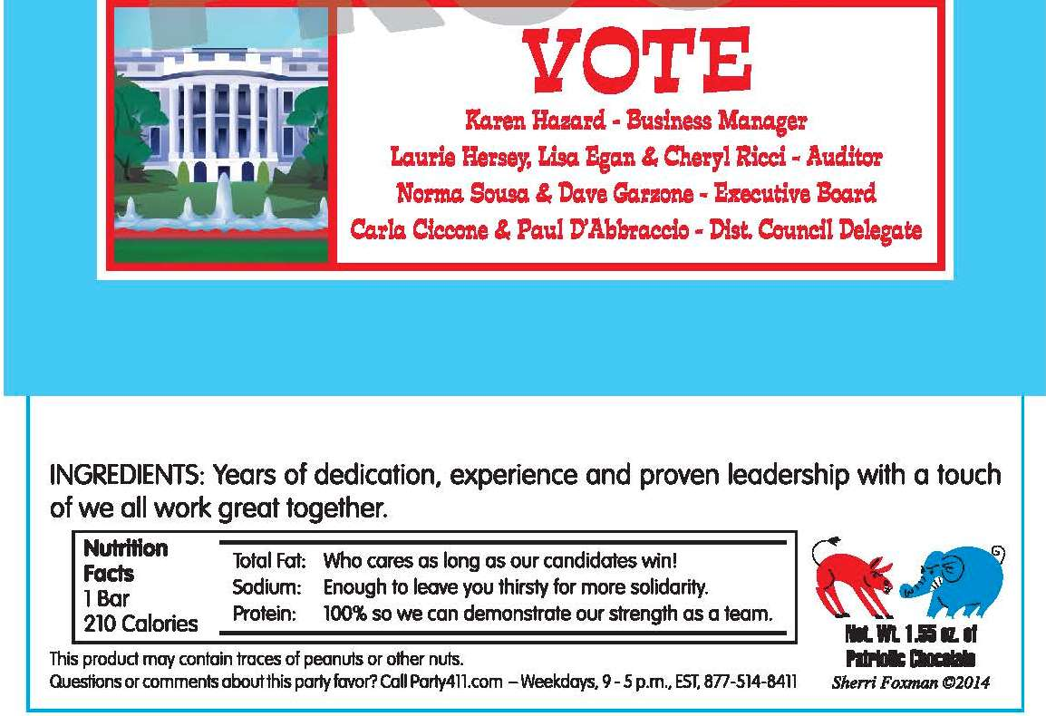 Election Candy Bar wrapper