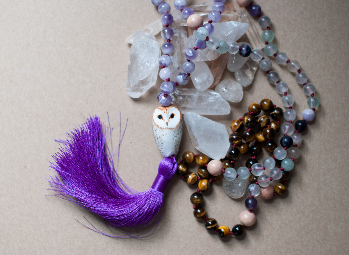 Barn Owl Mala with amethyst, flourite, and tiger's eye.