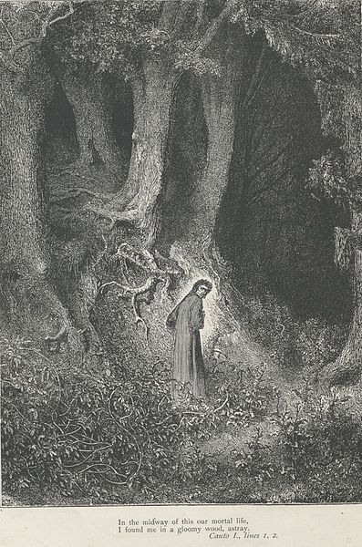 Gustave Dore's famous print depicting Dante embarking on his journey into the underworld. Source:  https://commons.wikimedia.org/wiki/File:Gustave_Dore_Inferno1.jpg