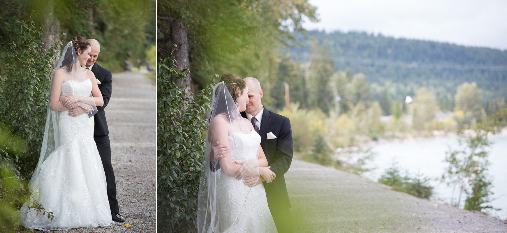 A couple embraces moments after their first look in Golden, BC