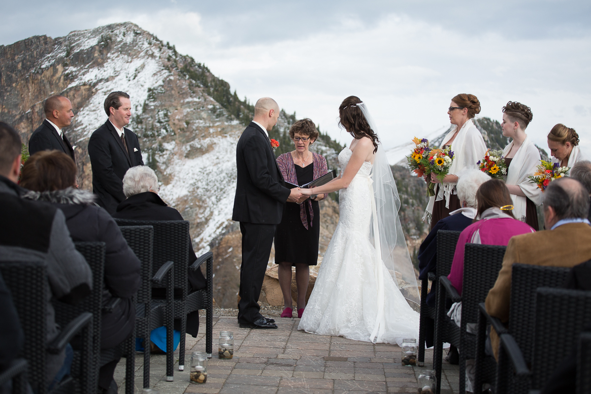 Wedding ceremony among the mountaintops at Kicking Horse Resort