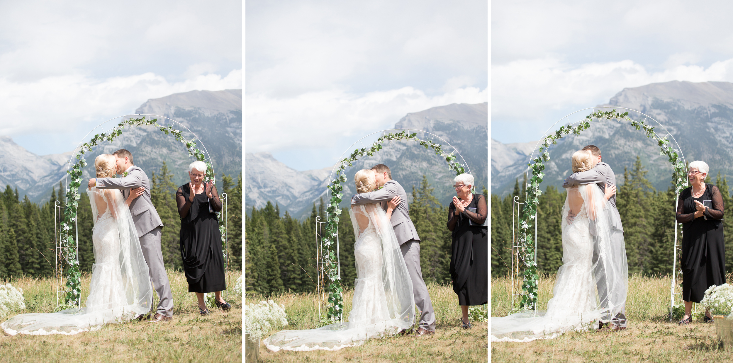 Wedding day first kiss in Canmore, Alberta in the Rocky Mountains