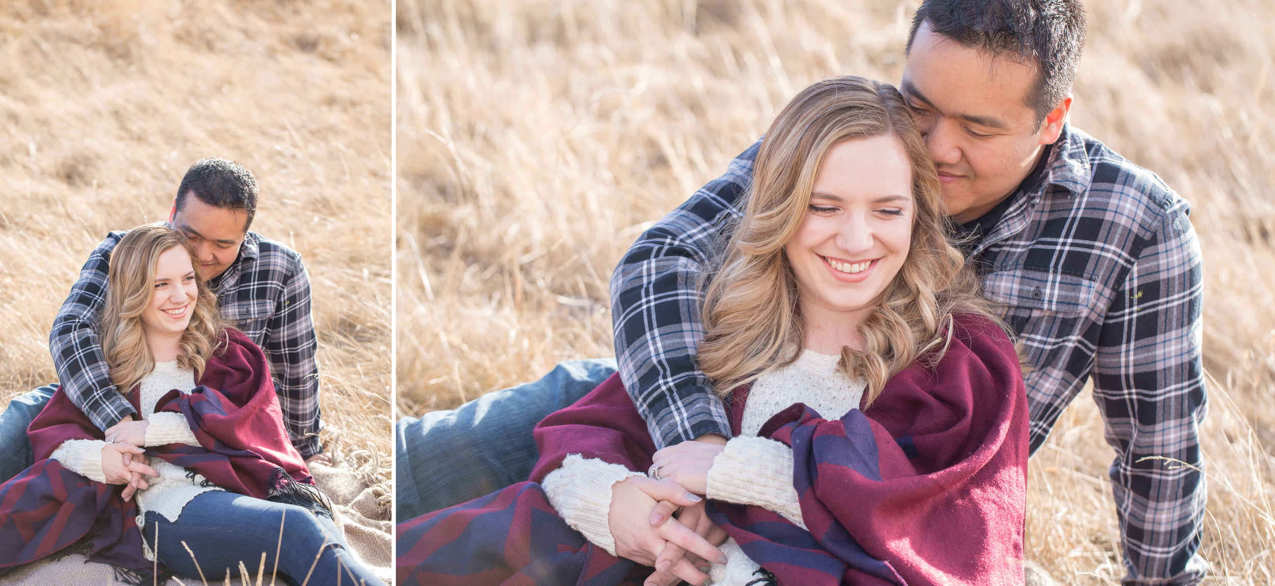 North Glenmore Park engagement photography with picnic blanket