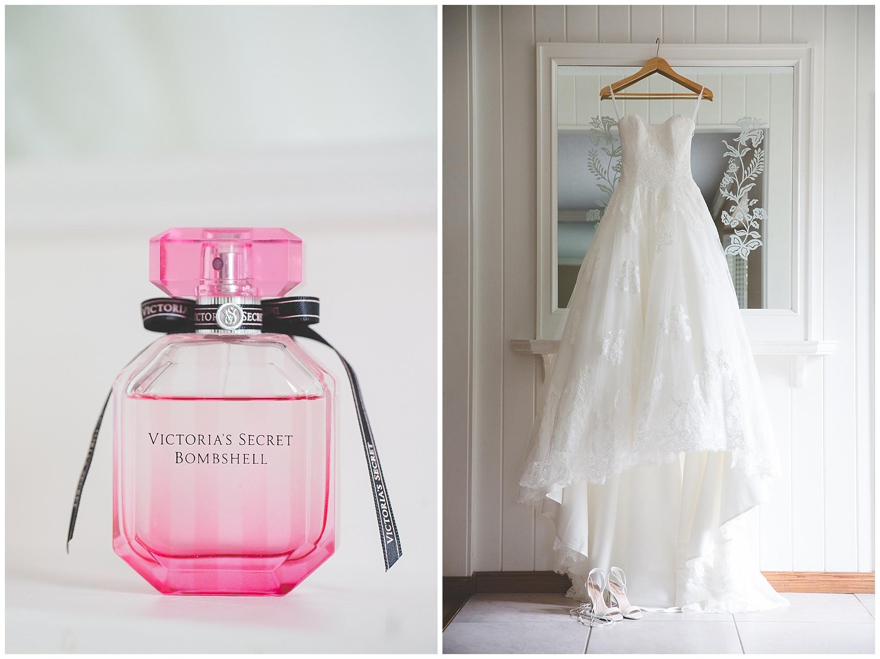 Calgary Bridal Details - Wedding Dress & perfume bottle