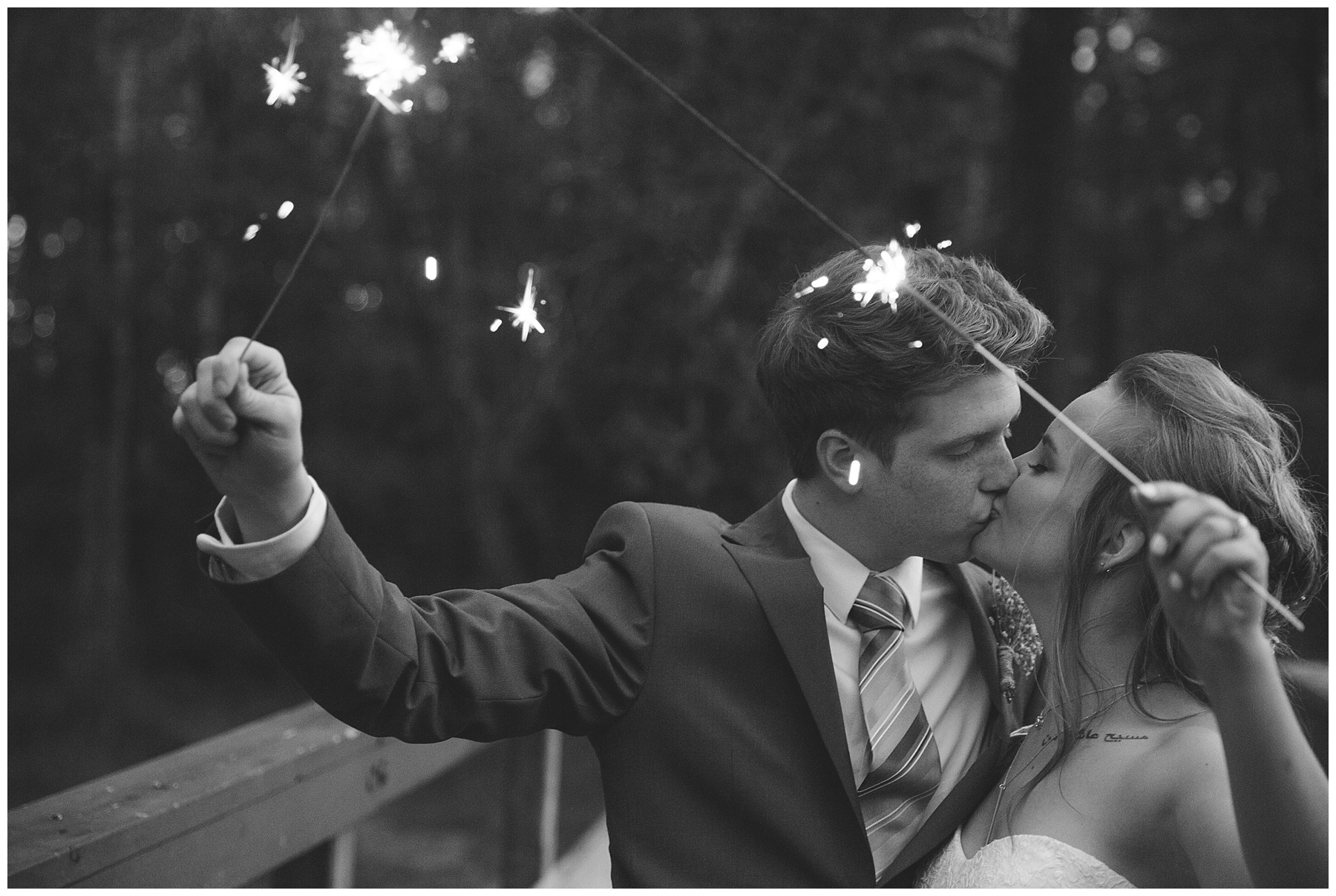 Wedding sparkler bride and groom photograph