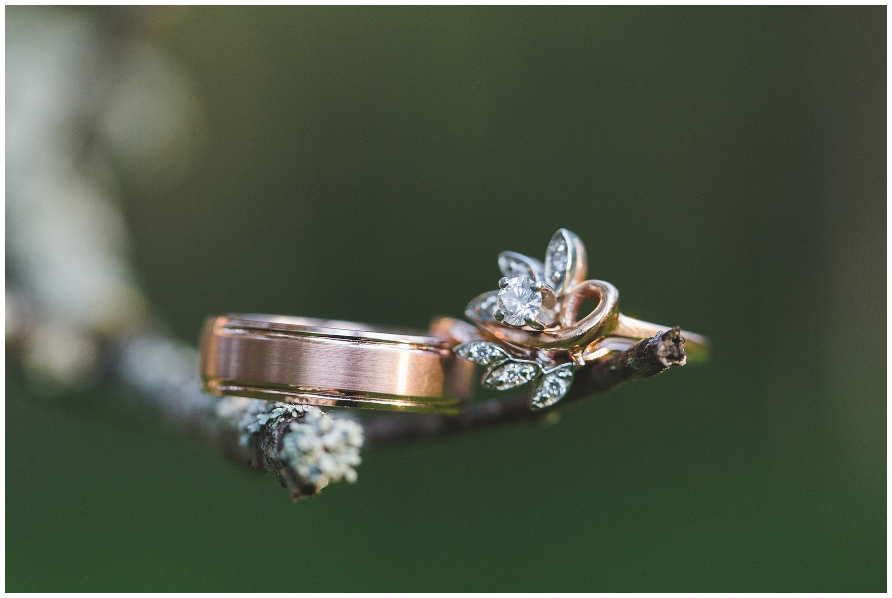 Rose gold custom wedding ring and matching band