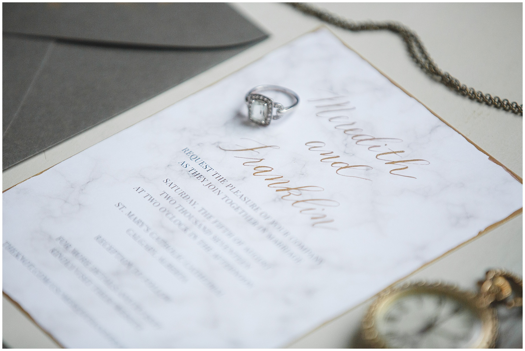 Marble and Gold Calligraphy Wedding Invitation Inspiration