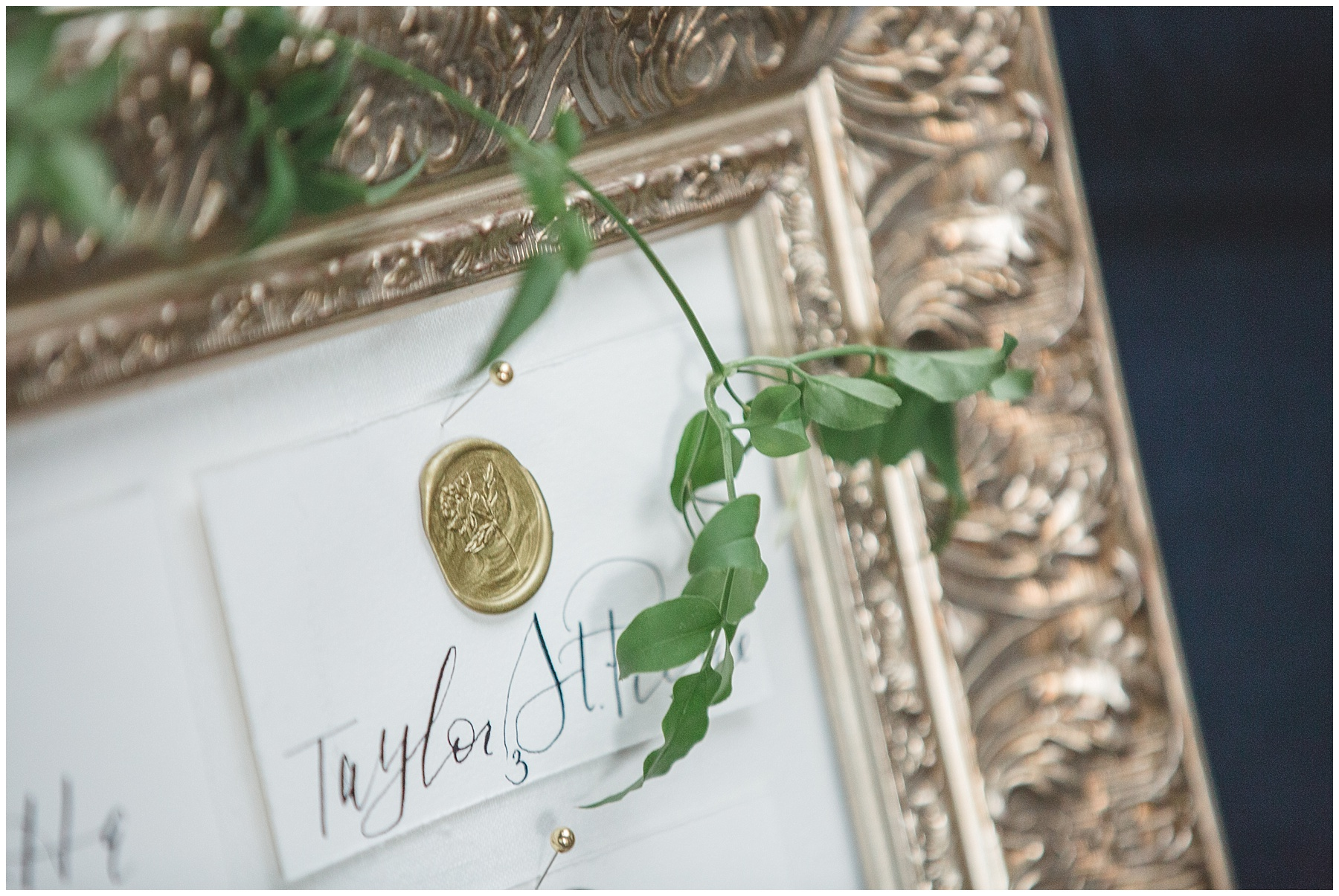 Seating Chart Calligraphy and Greenery
