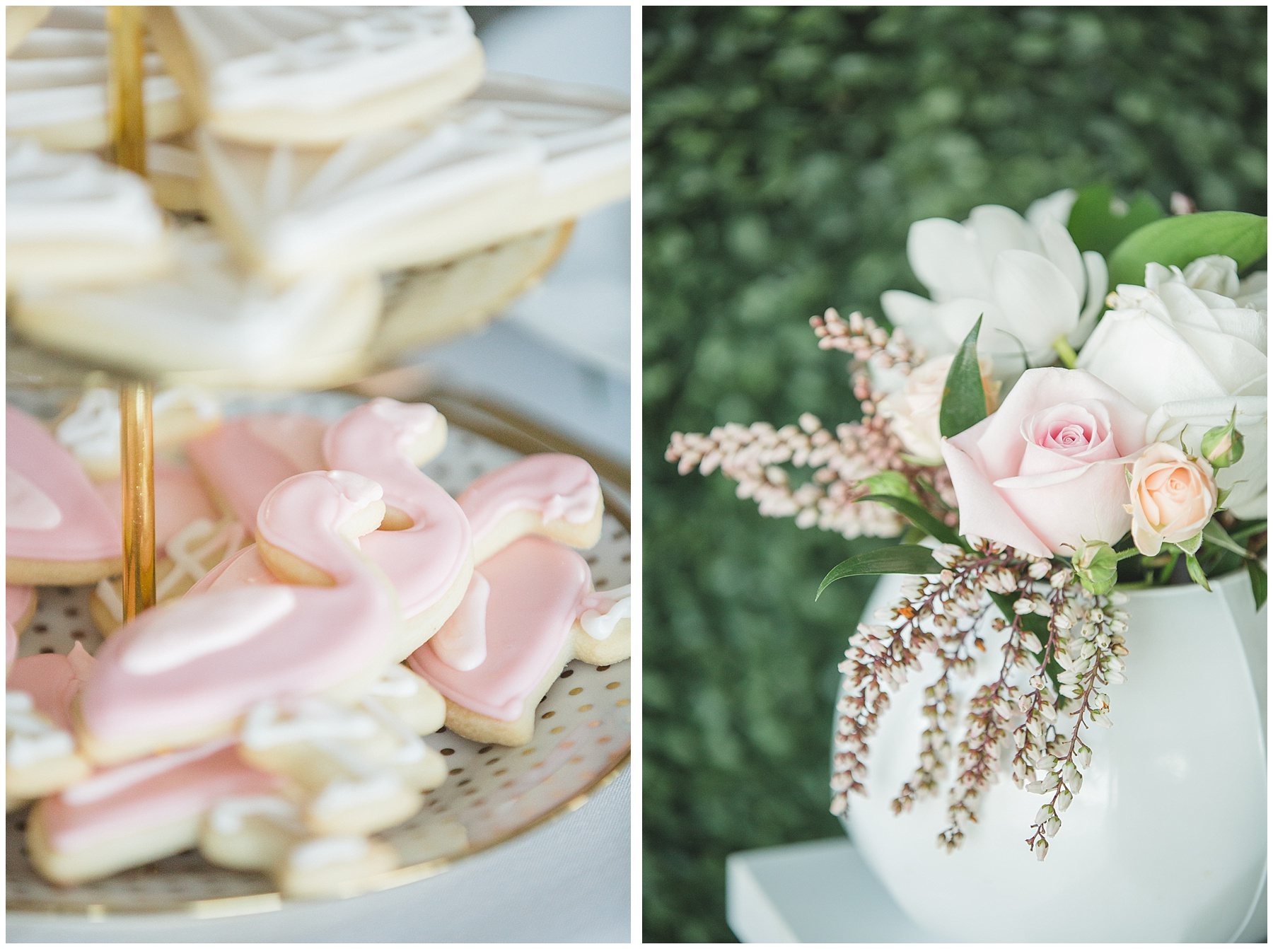 flamingo cookies and flower decorate this bridal shower